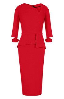 Приталенное платье-миди с оборкой Roland Mouret