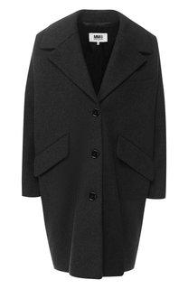 Шерстяное пальто с отложным воротником Mm6
