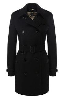 Пальто с поясом из смеси шерсти и кашемира Burberry
