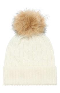Кашемировая шапка с меховым помпоном Polo Ralph Lauren
