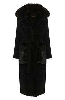 Пальто из смеси шерсти и кашемира с меховой отделкой Yves Salomon
