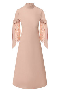 Платье-миди из смеси шерсти и шелка Valentino