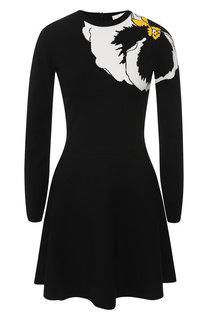 Приталенное платье с вышитым принтом Valentino