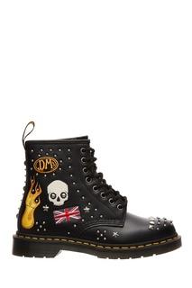 Кожаные ботинки с заклепками и вышивкой Dr Martens