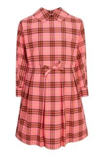 Розовое платье миди в клетку Burberry Kids
