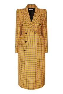 Желтое пальто в клетку Balenciaga