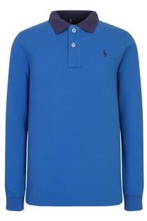 Голубое поло с контрастным воротником Polo Ralph Lauren Kids