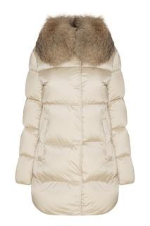 Белая куртка с мехом Moncler