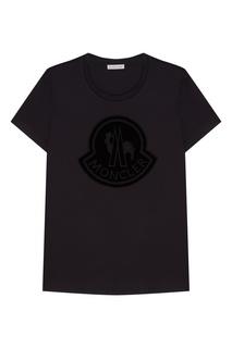 Хлопковая черная футболка с логотипом Moncler
