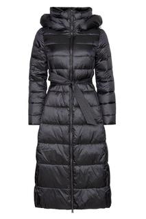 Черное стеганое пальто с поясом Mila Marsel