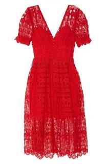 Красное кружевное платье Self Portrait