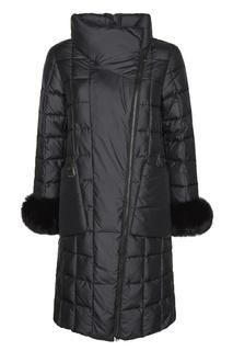 Черное стеганое пальто с мехом Mila Marsel