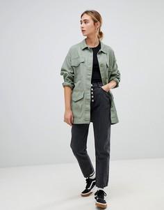 Джинсы в полоску в винтажном стиле с 5 пуговицами Pull&bear - Серый Pull&;Bear