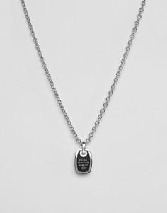 Мужское ожерелье из нержавеющей стали Fossil - Серебряный