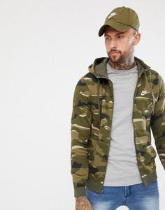 Худи зеленого цвета на молнии с капюшоном и камуфляжным принтом Nike AQ0596-325 - Зеленый