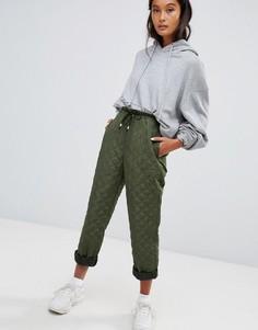 Зеленые стеганые джоггеры ASOS DESIGN - Зеленый