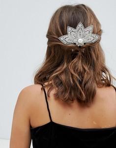 Серебристый гребень для волос с филигранной отделкой и искусственным жемчугом ASOS DESIGN - Серебряный