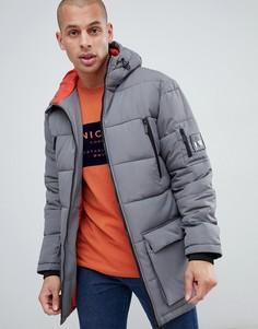 Серая длинная куртка с капюшоном Nicce - Серый