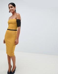 Платье-футляр с контрастными рукавами и открытыми плечами Vesper - Желтый