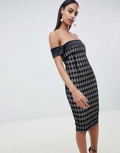 Платье-футляр с открытыми плечами и принтом Vesper - Черный