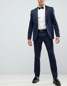 Узкие брюки с цветочным принтом Farah Keeling - Темно-синий