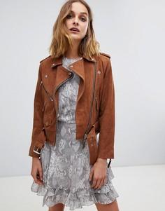 Замшевая байкерская куртка AllSaints - Коричневый