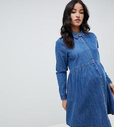 Свободное джинсовое платье-рубашка ASOS DESIGN Maternity - Синий