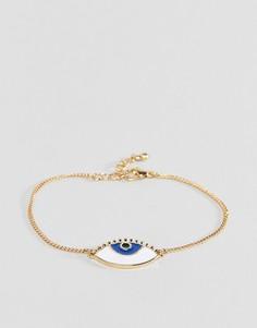 Золотистый браслет-цепочка с эмалированной подвеской в виде глаза ASOS DESIGN - Золотой