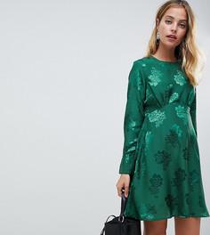Атласное платье с принтом роз Y.A.S Petite - Зеленый