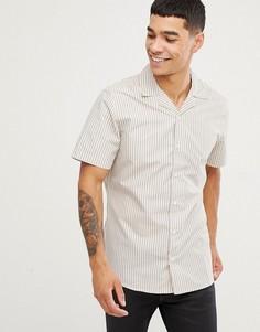 Рубашка в полоску с короткими рукавами и отложным воротником Only & Sons - Белый