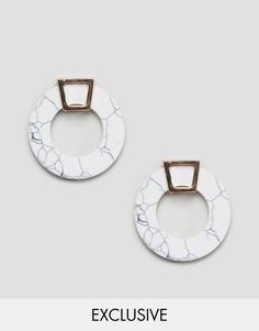 Серьги-кольца с мраморным эффектом Reclaimed Vintage Inspired - Белый