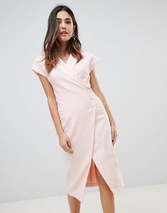 Платье миди с запахом и пуговицами сбоку ASOS DESIGN - Розовый
