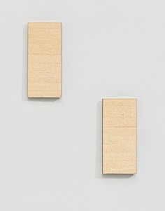 Серьги в форме деревянного бруска Weekday - Коричневый