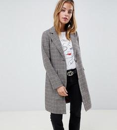 Приталенное пальто в клетку New Look Petite - Коричневый
