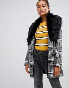 Пальто в клетку с меховым воротником Parisian - Мульти