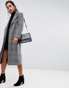 Свободное пальто в ломаную клетку из шерсти и кашемира Helene Berman - Черный