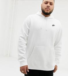 Белый худи-пуловер с логотипом-галочкой Nike PLUS Club 804346-100 - Белый