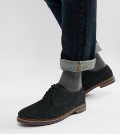 Темно-синие замшевые ботинки дерби для широкой стопы Base London Blake - Темно-синий