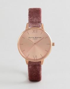 Часы с розовым бархатным ремешком Olivia Burton OB16DE03 - Розовый