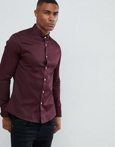 371b6ee1432 Приталенная сатиновая рубашка бордового цвета с двойными манжетами ASOS  DESIGN - Красный