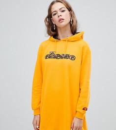 Трикотажное платье с капюшоном и логотипом спереди ellesse - Желтый