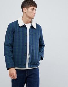 Темно-синяя куртка в клетку с воротником борг Farah Dunkelf - Темно-синий