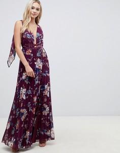 Плиссированное платье макси с цветочным принтом ASOS DESIGN - Мульти