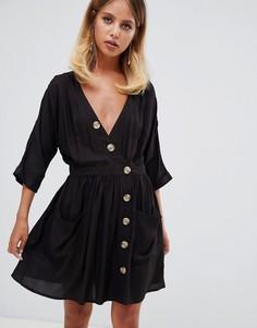 Повседневное платье с карманами и пуговицами ASOS DESIGN - Черный