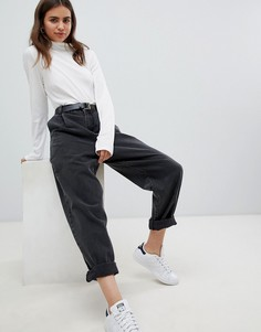 Черные выбеленные суженные книзу джинсы с ремнем ASOS DESIGN - Черный