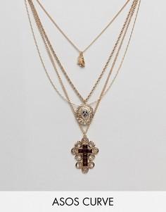Ярусное ожерелье с подвесками эксклюзивно для ASOS DESIGN Curve - Золотой