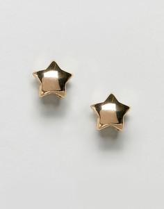 Золотистые серьги-гвоздики с двойными звездами ASOS DESIGN - Золотой