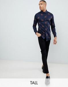 Оксфордская рубашка с принтом Ted Baker Tall - Темно-синий