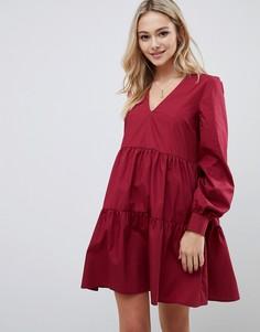 Свободное хлопковое платье мини с длинными рукавами ASOS DESIGN - Красный