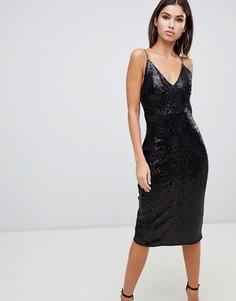 Черное платье миди на бретельках с пайетками Club L - Черный